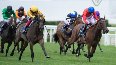 Campanelle (Frankie Dettori,left) wins the Queen Mary Stakes from Sacred (James Doyle)Ascot 20.6.20 Pic: Edward Whitaker