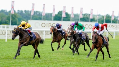 ASCOT, ENGLAND - JUNE 20: Frankie Dettori riding Campanelle (yellow) win The Queen Mary Stakes on Day Five of Royal Ascot at Ascot Racecourse on June 20, 2020 in Ascot, England. The Queen will miss out on attending Royal Ascot in person for the first time