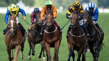 Hello Youmzain (Kevin Stott,yellow and black checked cap) wins the Diamond Jubilee Stakes from Dream Of Dreams (yellow and blue spots) and Sceptical (centre)Ascot 20.6.20 Pic: Edward Whitaker