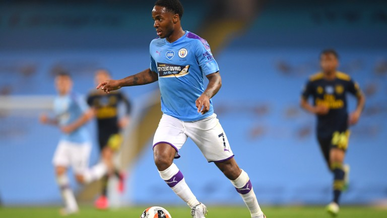 Raheem Sterling of Manchester City in action against Arsenal