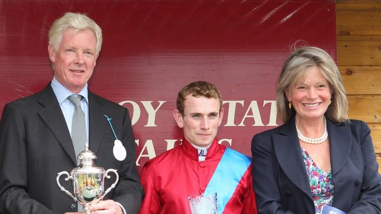 Anita Wigan (right) with husband James (left) and jockey Ryan Moore