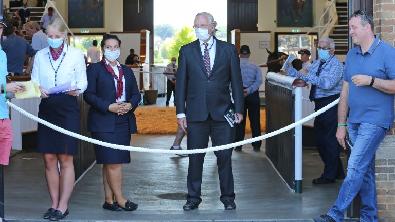 Tattersalls staff sporting face masks at the entrance to the Park Paddocks sales ring