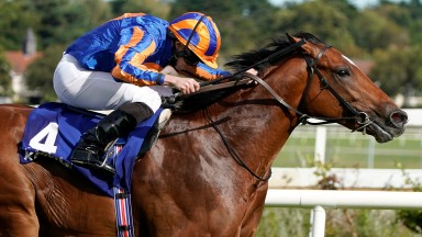 DUBLIN, IRELAND - SEPTEMBER 14: Ryan Moore riding Mogul win The KPMG Champions Juvenile Stakes at Leopardstown Racecourse on Irish Champion Stakes Day on September 14, 2019 in Dublin, Ireland. (Photo by Alan Crowhurst/Getty Images)