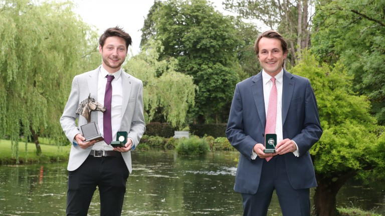 Gold medallist Aaron Boland (left) shows off his trophies with silver medal winner Charlie Harris