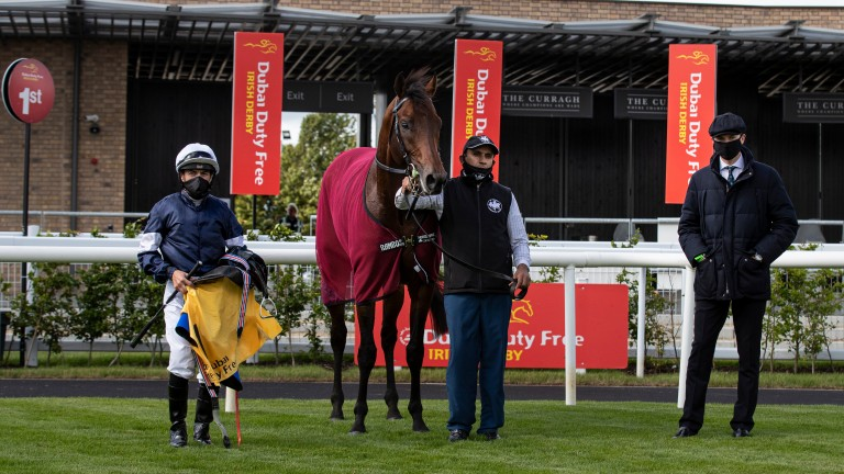 Buckhurst with Wayne Lordan and Joseph O'Brien (right) after winning the Alleged Stakes at the Curragh in June