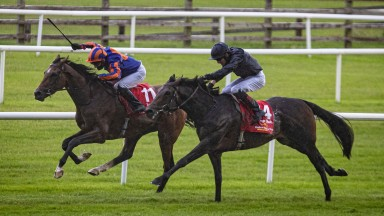 Santiago (left) fends off stablemate Tiger Moth to give Aidan O'Brien his 14th Irish Derby triumph