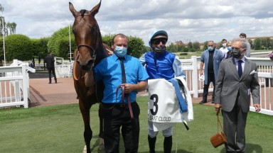 Persian King with Pierre-Charles Boudot and Andre Fabre after victory in the Prix du Muguet at Saint-Cloud