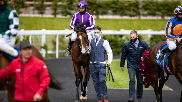 Hudson River and Seamie Heffernan return from their maiden victory at the Curragh