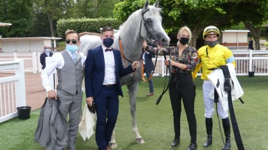 Way To Paris and Pierre-Charles Boudot after winning the Grand Prix de Saint-Cloud, a first Group 1 success for trainer Andrea Marcialis (left)