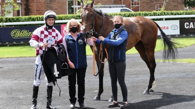 Paul Mulrennan, Susan Corbett and Emma Tully after Gowanbuster's victory