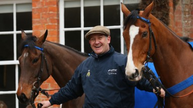 CHOLMONDELEY, CHESHIRE - FEBRUARY 26:  Donald McCain shows off his horses Peddlers Cross (l) and Overturn (r) ahead of the Cheltenham Festival during a media open day at his Bankhouse Stables on February 26, 2013 in Cholmondeley, Cheshire.  (Photo by Alex