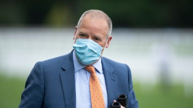 Trainer Clive Cox after 150/1 shot Nando Parrado had won the Coventry StakesAscot 20.6.20 Pic: Edward Whitaker