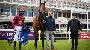 Know It All with Ben Coen (left) and Johnny Murtagh after success in the Group 3 Derrinstown Stud Fillies' Stakes