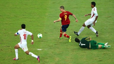 Fernando Torres scores the vital ninth goal in Spain's 10-0 win over Tahiti