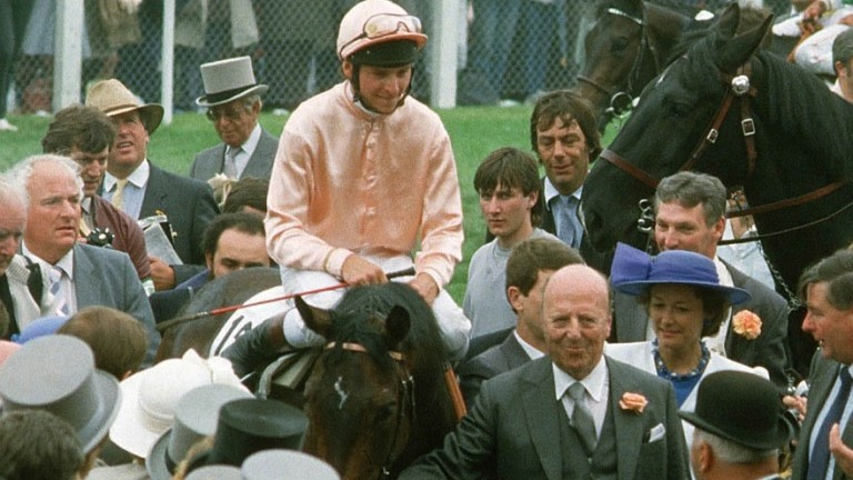 Steve Cauthen and Slip Anchor are led in by owner Lord Howard de Walden after winning the 1985 Derby