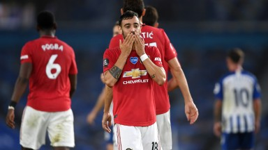 BRIGHTON, ENGLAND - JUNE 30: Bruno Fernandes of Manchester United celebrates scoring his sides second goal during the Premier League match between Brighton & Hove Albion and Manchester United at American Express Community Stadium on June 30, 2020 in Brigh