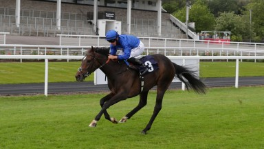 Mashmoom and Tom Marquand in splendid isolation in the fillies' maiden at Chepstow on Friday