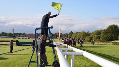 All races at Leicester on Tuesday were started by flag