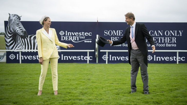 Ed Chamberlin and Francesca Cumani keeping their distance on Derby day at Epsom