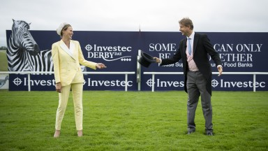 EPSOM, ENGLAND - JULY 04: ITV presenters Francesca Cumani and Ed Chamberlin on Derby Day morning at Epsom Racecourse on July 04, 2020 in Epsom, England. The famous race meeting will be held behind closed doors for the first time due to the coronavirus pan