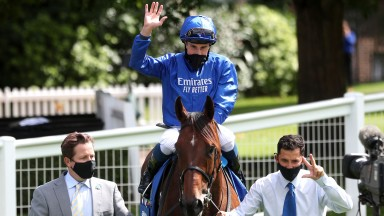 ESHER, ENGLAND - JULY 05: Ghaiyyath and William Buick after winning the Coral-Eclipse at Sandown Park Racecourse on July 05, 2020 in Esher, England.  (Photo by David Davies/Pool via Getty Images)