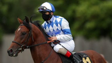 NEWMARKET, ENGLAND - JUNE 04: Andrea Atzeni onboard Saint Lawrence ahead of the Betway Maiden Stakes at Newmarket Racecourse on June 04, 2020 in Newmarket, England. (Photo by David Davies/Pool via Getty Images)