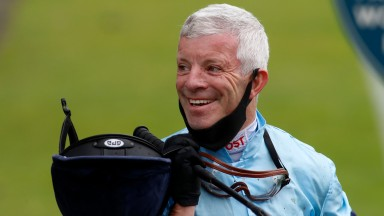 YORK, ENGLAND - JULY 09: Franny Norton smiles after riding Thunderous to win The Al BAsti Equiworld Dubai Dante Stakes from Highest Ground at York Racecourse on July 09, 2020 in York, England. (Photo by Dan Abraham/Pool via Getty Images)