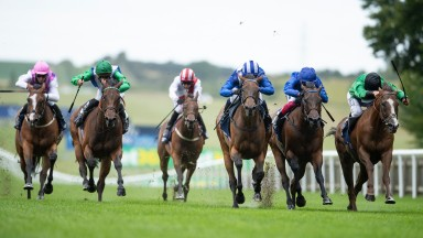 Nazeef (Jim Crowley,3rd right) beats Billesdon Brook (right) and Terebellum (2nd right) in the Tattersalls Falmouth StakesNewmarket 10.7.20 Pic: Edward Whitaker