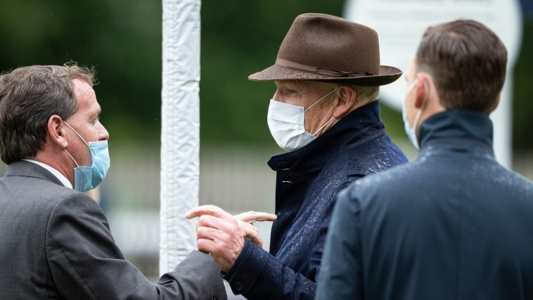 Trainer John Gosden who saddled the first and third placed Nazeef and Terebellum in the Tattersalls Falmouth Stakes jokes with Richard Hannon who saddled the 2nd placed Billesdon BrookNewmarket 10.7.20 Pic: Edward Whitaker