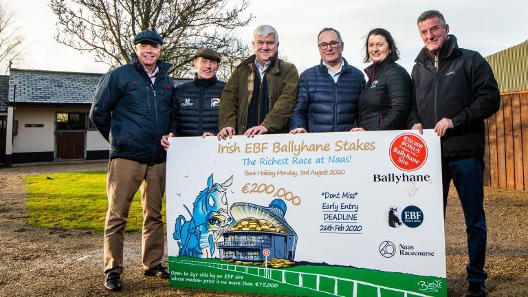Karl Burke, Johnny Murtagh, Dermot Cantillon, Joe Foley, Nessa Joyce and Kevin Ryan at the launch of the Ballyhane Stakes