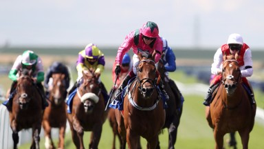 NEWMARKET, ENGLAND - JULY 11: Oxted ridden by jockey Cieren Fallon wins the Darley July Cup Stakes during day three of The Moet and Chandon July Festival at Newmarket Racecourse on July 11, 2020 in Newmarket, England. (Photo by David Davies/Pool via Getty