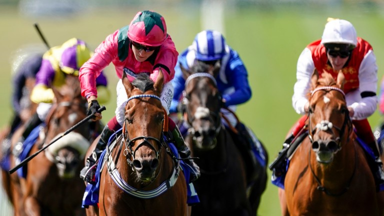 Oxted (pink silks): emulated his sire Mayson with victory in the July Cup
