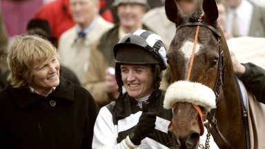 Cheltenham 16.3.2005The Queen Mother Champion 'Chase.Winner Moscow Flyer in the enclosure with trainerJessica Harrington and Barry Geraghty.
