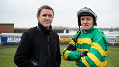 Sir Anthony McCoy and Barry Geraghty before the 2m juvenile hurdleWarwick 21.1.19 Pic: Edward Whitaker