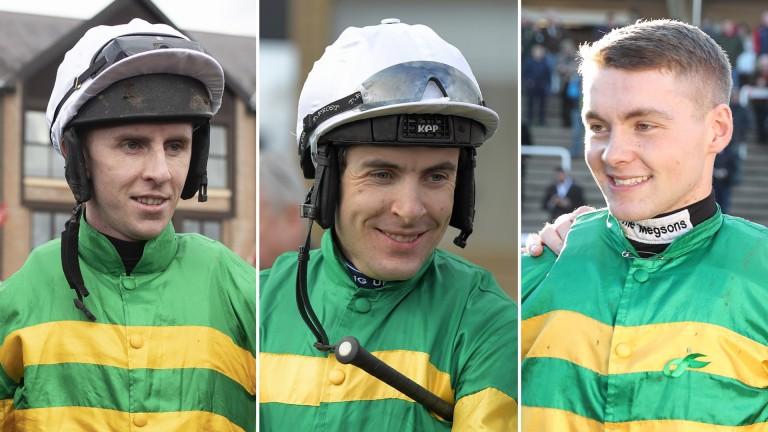 In the frame (from left): leading jockeys Mark Walsh, Aidan Coleman and Jonjo O'Neill jnr