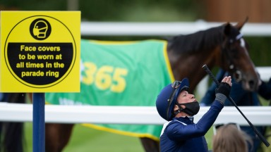 Frankie Dettori celebrates after Global Giant's victory