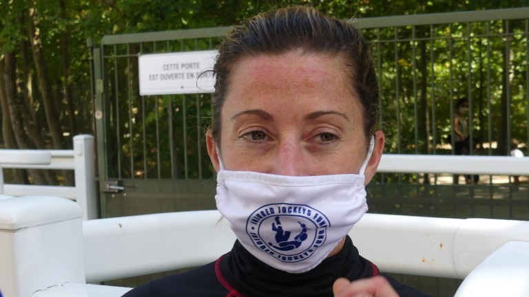 Support the cause: Hayley Turner sporting her Injured Jockeys Fund facemask