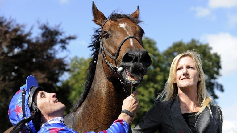 Borderlescott with Rebecca Bastiman and jockey Neil Callan after his second Nunthorpe win in 2009