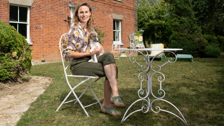The ITV Racing presenter with her new Lurcher puppy