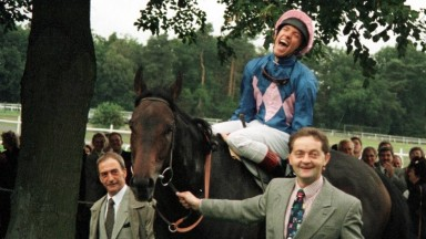 Crest of a wave: Dettori is overjoyed, the bookies not so much, as he comes back in on Fujiyama Crest, the last of his Magnificent Seven