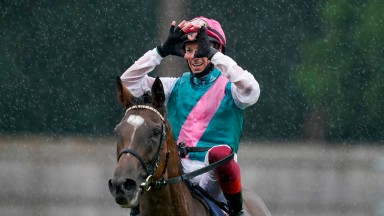 ASCOT, ENGLAND - JULY 25: Frankie Dettori after riding Enable to win The King George VI And Queen Elizabeth Qipco Stakes at Ascot Racecourse on July 25, 2020 in Ascot, England. Owners are allowed to attend if they have a runner at the meeting otherwise ra