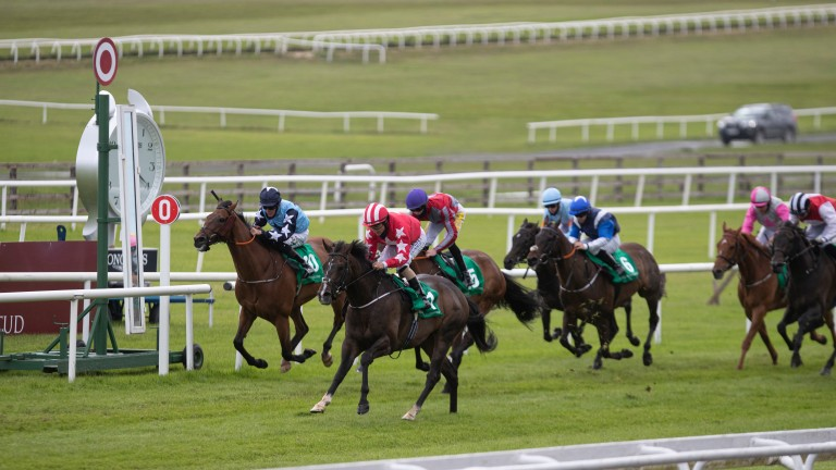 Njord (red with white stars on sleeves) came home strongly to win at the Curragh last month