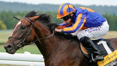 CHICHESTER, ENGLAND - JULY 28: Ryan Moore riding Battleground wins The Veuve Clicquot Vintage Stakes at Goodwood Racecourse on July 28, 2020 in Chichester, England.  Owners are allowed to attend if they have a runner at the meeting otherwise racing remain