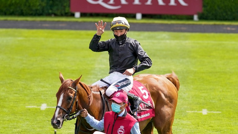 Frankie Dettori aboard Stradivarius after a fourth Goodwood Cup win for the six-year-old