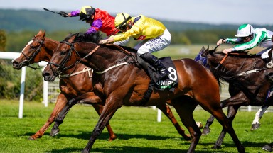 CHICHESTER, ENGLAND - JULY 29: Tom Marquand riding Just Hubert (yellow) win The Unibet You're On Goodwood Handicap at Goodwood Racecourse on July 29, 2020 in Chichester, England. Owners are allowed to attend if they have a runner at the meeting otherwise