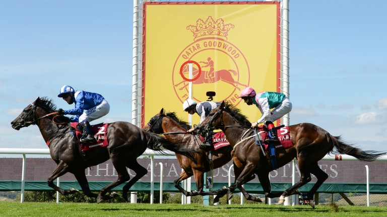 Mohaather (leading): pounces in the Sussex Stakes