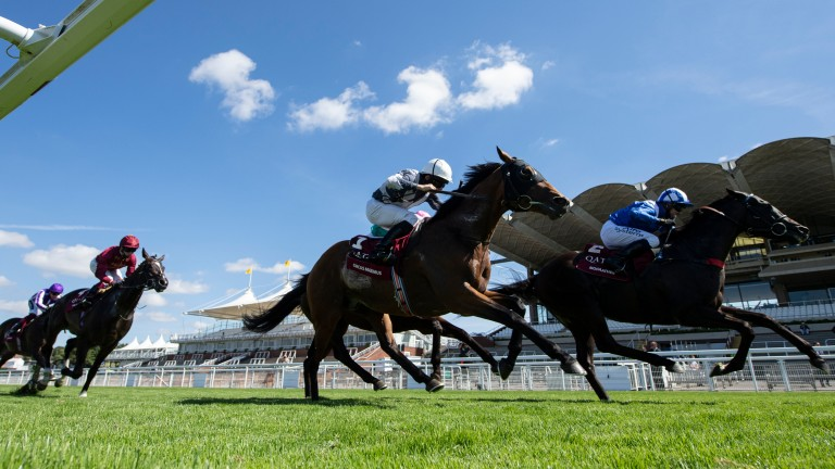 Circus Maximus (white cap, nearside) almost pulled off an all-the-way success under Ryan Moore in the Sussex Stakes