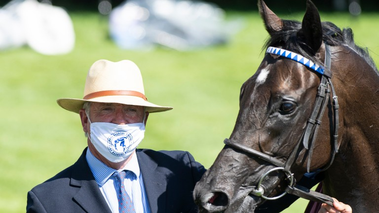 Marcus Tregoning and Mohaather after Sussex Stakes glory