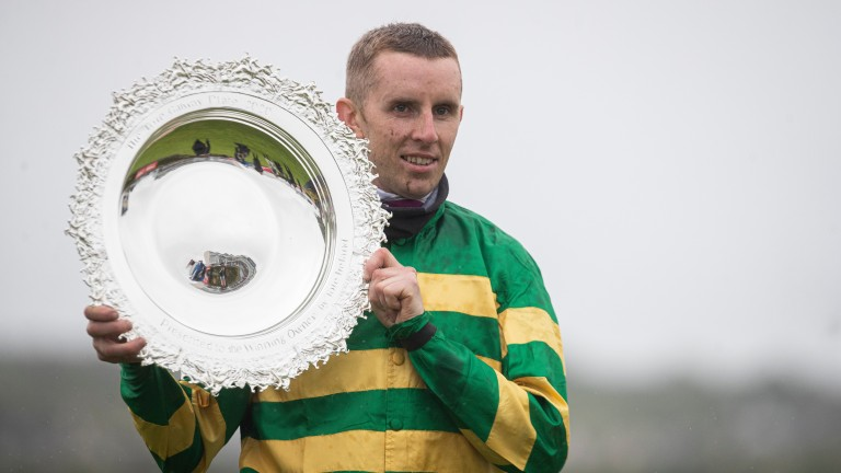 Mark Walsh celebrates victory in the Galway Plate