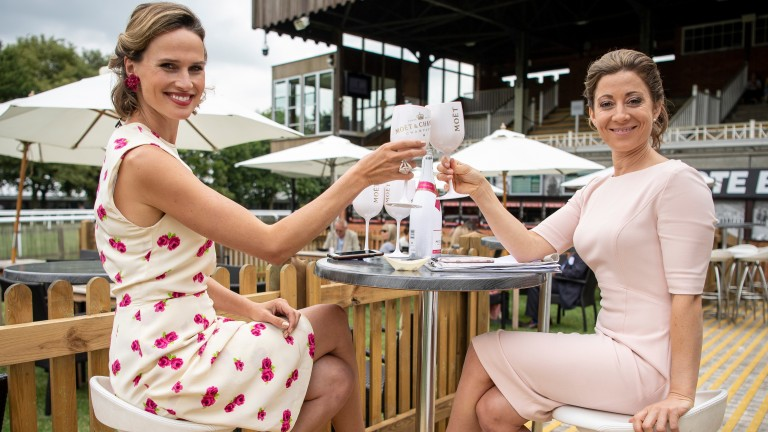 Hayley Turner off the telly: Hayley enjoys a glass of champagne with ITV colleague Francesca Cumani
